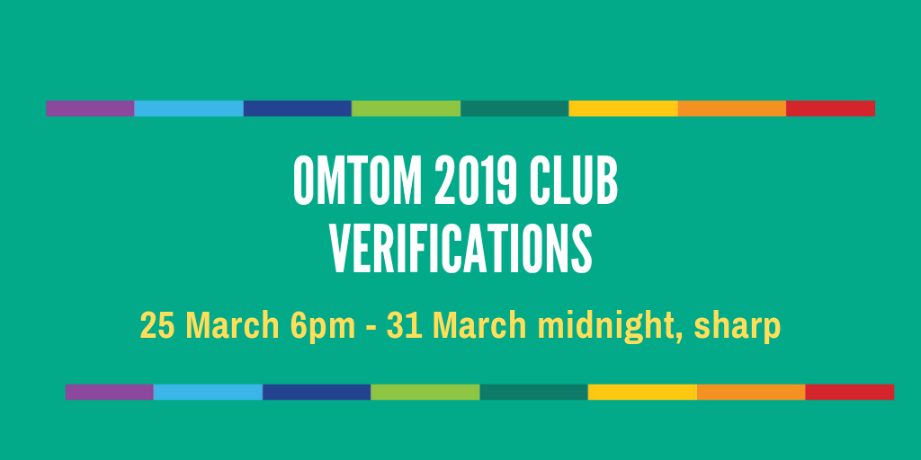 Club Verifications Start 25 March 6PM, After Substitutions CLOSE on 25 March, 5PM