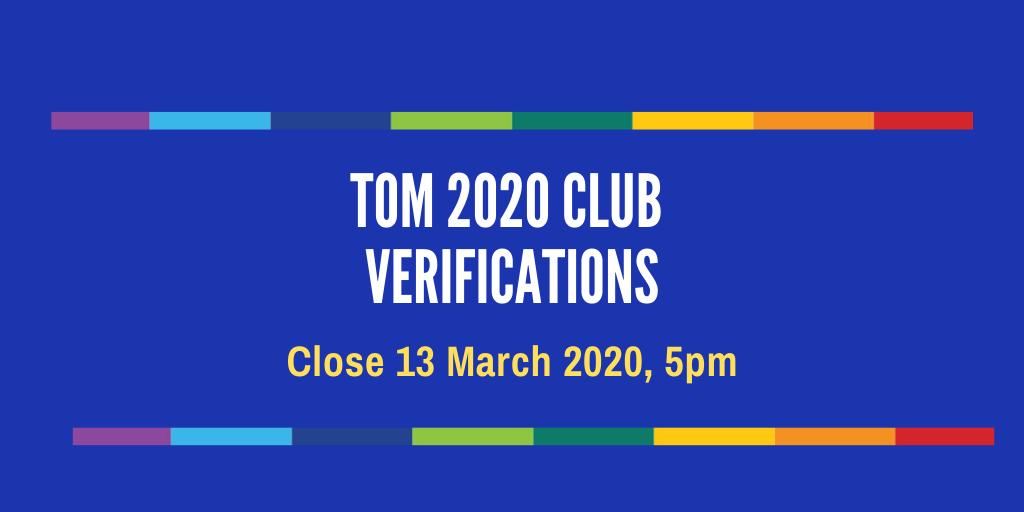 TOM 2020 Club Verifications – Step by Step for Club Secretaries